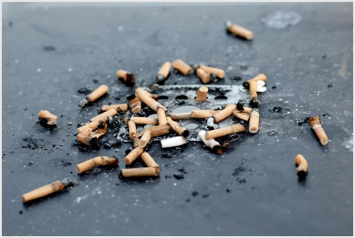 Typical cigarette butt litter