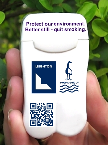 Leighton Contractors new Personal Ashtray with QR Code