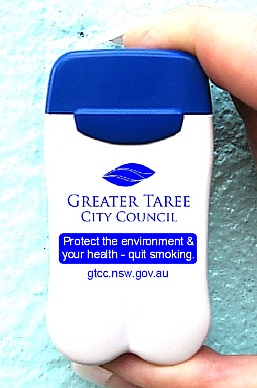 Greater Taree City Council's new Pocket/Personal/Portable Ashtrays from No BuTTs